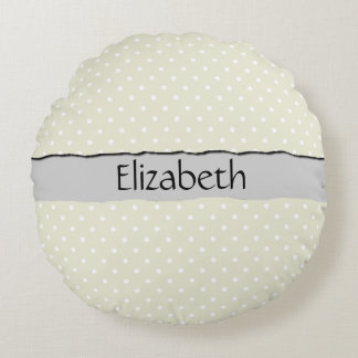 Your Name - Polka Dots, Dotted Pattern - Beige Round Pillow