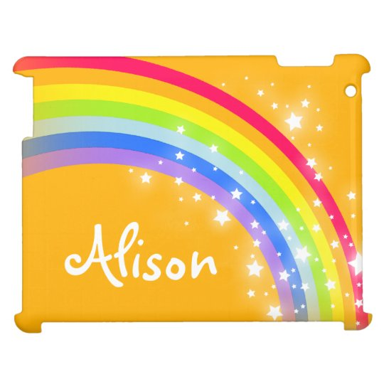 """your name"" rainbow orange kids ipad case"