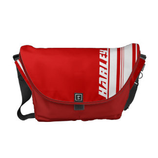 """your name"" red and white sport stripe bag messenger bags"