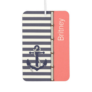 Your Name Retro Boat Anchor Cute Stripes Pattern Car Air Freshener