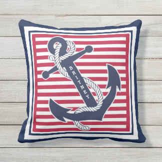 Your Name Retro Boat Anchor Cute Stripes Pattern Throw Pillow