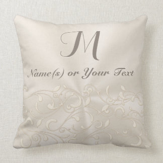 Your Name(s) and Monogram Pillow, Champagne Color Throw Pillow