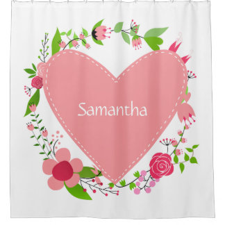 Your Name(s) in a Heart custom shower curtain
