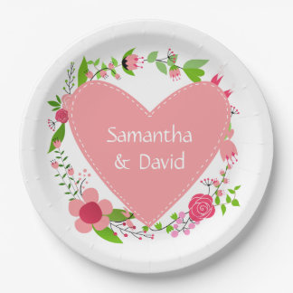 Your Name(s) in a Heart paper plates