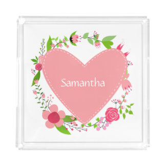 Your Name(s) in a Heart serving trays