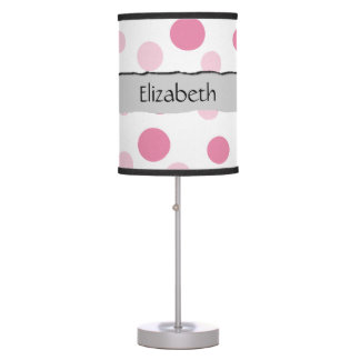 Your Name - Seamless Dots, Dotted Pattern - Pink Table Lamp
