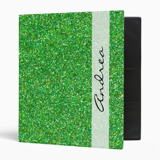 Your Name - Shiny Glitter, Glitter Glow - Green Vinyl Binders