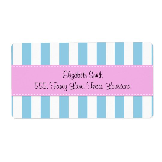 Your Name - Stripes, Parallel Lines - Blue White Shipping Label