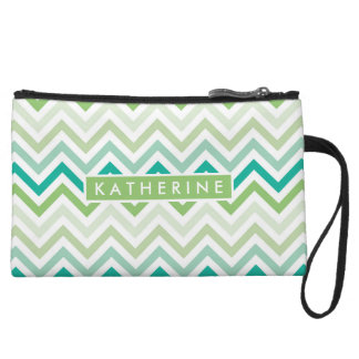 Your Name | Teal Green Chevron Wristlet