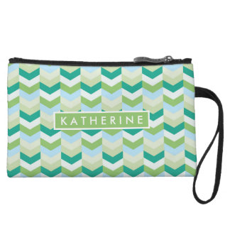 Your Name | Teal Green Herringbone Wristlet