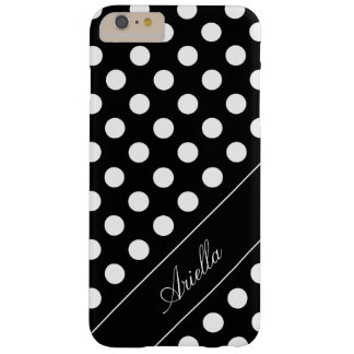 Your Name /Text Template, Polka dot Black & White Barely There iPhone 6 Plus Case