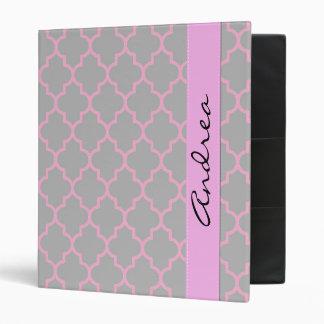 Your Name - Trellis, Latticework - Gray Pink 3 Ring Binder