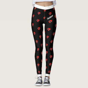 (Your Name) Trinidad Flag Hearts on (Your Colour) Leggings