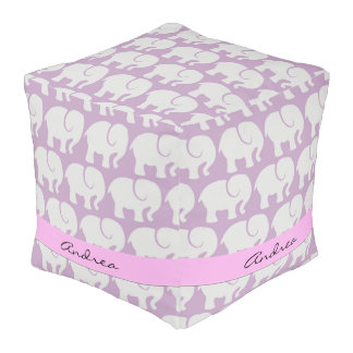 Your Name - Troop Of Elephants - Gray Purple Pouf