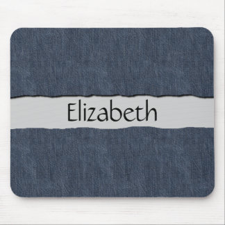 Your Name - Washed Denim Fabric (Twill Textile) Mouse Pads