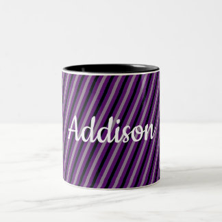 (Your Name / Your Color) Black & Grey Striped Two-Tone Coffee Mug