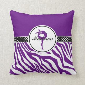 Your Name Zebra Print Gymnastics in Purple Throw Pillow