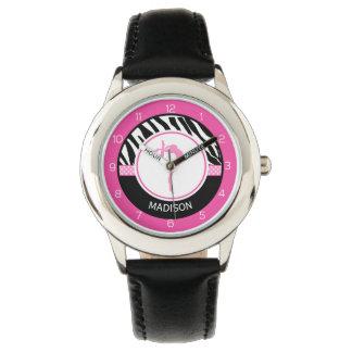 Your Name Zebra Print Gymnastics with Pink Details Wrist Watches