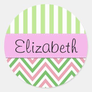 Your Name - Zigzag Pattern, Chevron - Green Pink Round Sticker