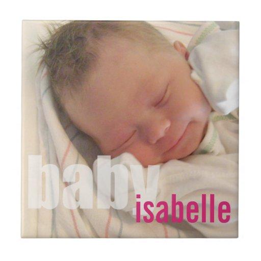 Your newborn baby girl photo keepsake pink name tile
