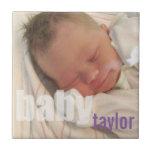 Your newborn baby unisex photo keepsake purple ceramic tiles