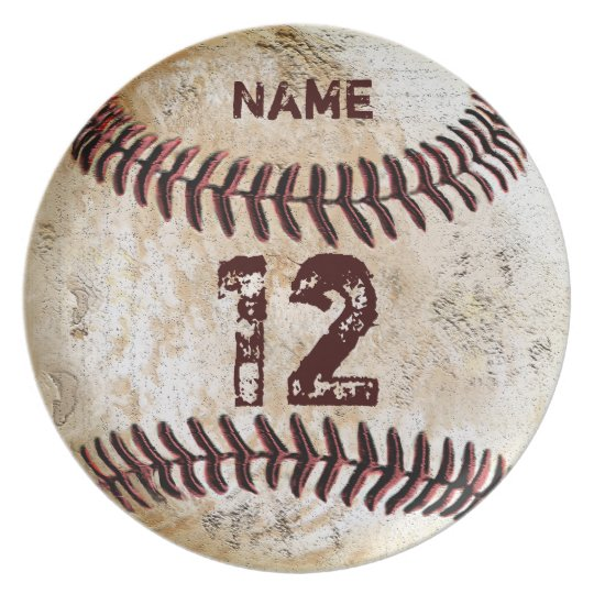 YOUR NUMBER and NAME on Baseball Dinner Plates