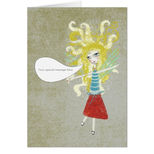 Your own message whimsical doll sweet angel card
