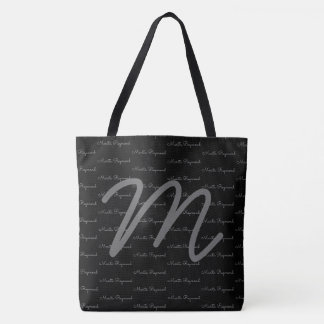 your own name pattern + initial on an elegant blk. tote bag