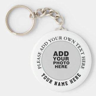 your own name, text & photo on white keychain