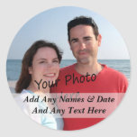 Your Own Photo And Custom Text Stickers Round Sticker
