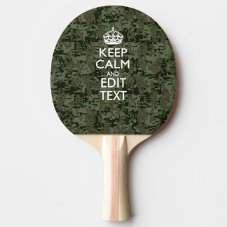Your Own Text Digital Camo Woodland Keep Calm Ping-Pong Paddle