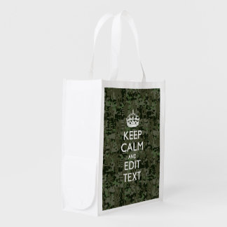 Your Own Text Digital Camo Woodland Keep Calm Reusable Grocery Bag