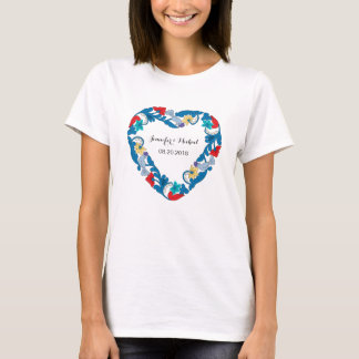 Your own Wedding love birds in the flowers heart T-Shirt
