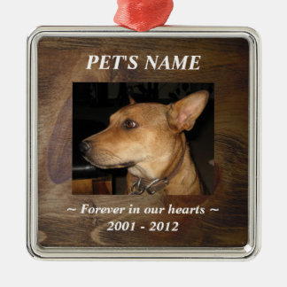 Your Pet Photo on Pretty Wood Look Background Metal Ornament