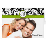 Your Photo Apple Green & Black Damask Thank You