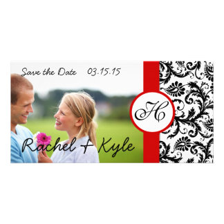 Your Photo Black Damask Red Trim Save the Date Custom Photo Card