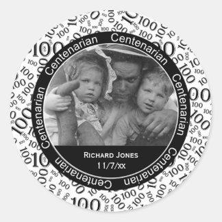 Your Photo - Black/White Centenarian Commemorative Classic Round Sticker
