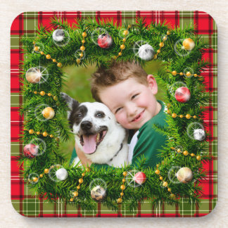 Your Photo Christmas Wreath Coaster