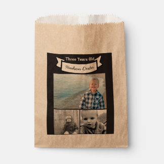 Your Photo Collage Rustic Banner Three Years Old Favour Bag