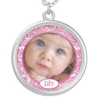 Your Photo Here Personalized With Name and Photo Round Pendant Necklace