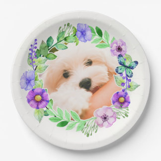 Your Photo in a Flower Frame paper plates