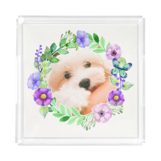 Your Photo in a Flower Frame serving trays