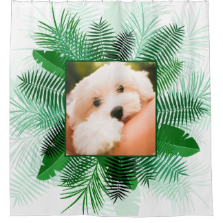 Your Photo in a Palm Leaf Frame shower curtain