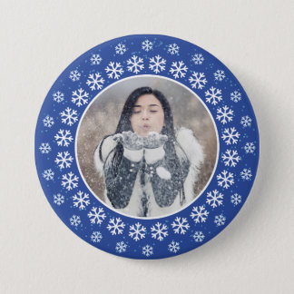 YOUR PHOTO in a Snowflake Frame button
