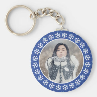 YOUR PHOTO in a Snowflake Frame key chain