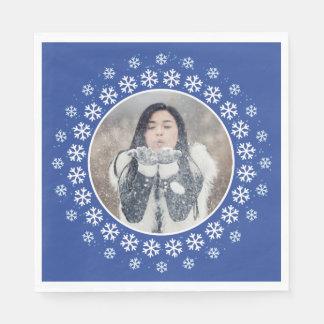 YOUR PHOTO in a Snowflake Frame paper napkins