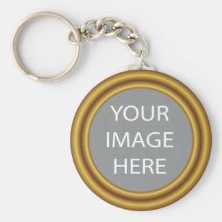 Your photo in elegant gold frame basic round button keychain