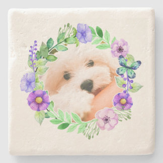 Your Photo in Flower Frame stone coasters
