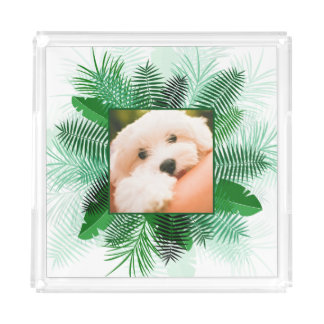 Your Photo in  Palm Leaf Frame serving trays