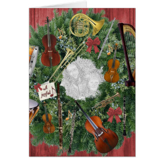 Your Photo in Wreath of Orchestra Instruments Card